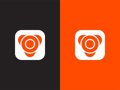 Virtchue Logo Design Concept #1 modern technology colorful symbol branding orange black app logo logo designer logo design trading growth trader scan scanning signal signals circles circle concentric triangle triangular geometry letter v monogram