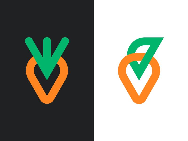Carrots vegetarian branding orange green black food health healthy logo design designer vegetable vegetables carrot