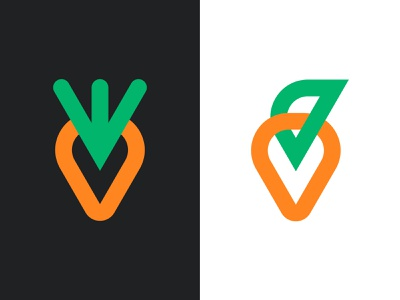 Carrots vegetarian branding orange green black food health healthy logo design designer vegetable vegetables carrot