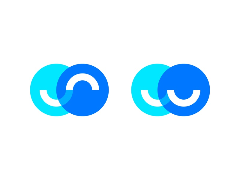 Logo design concept for a recruitment platform. colorful branding modern tech technology smart hiring online platform blue logo design circle circles person people happy good satisfied match connection dynamic joined job hire hired scout recruiter applicant candidate recruitment