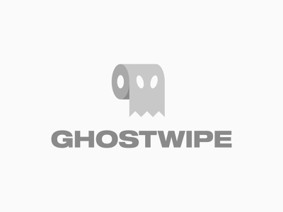 GHOSTWIPE creme branding black and white monochrome innovation technology minimal clever logo icon symbol smart healthy fun young dynamic bowel movement gut toilet paper roll wc bathroom logo design
