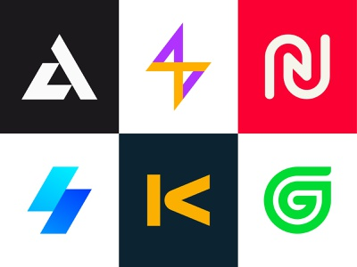 Monogram Logo Collection logofolio logo collection modern colorful branding tech technology futuristic coffee bar lightning bolt speed power hands connection smart leaf green healthy growth g logo k logo n logo s logo la logo logo design branding monogram initials letters logo