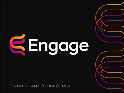 Engage #1 talent ai hiring recruitement and analytics and analytics collaboration connect connection merge engage letter e monogram logo design designer branding