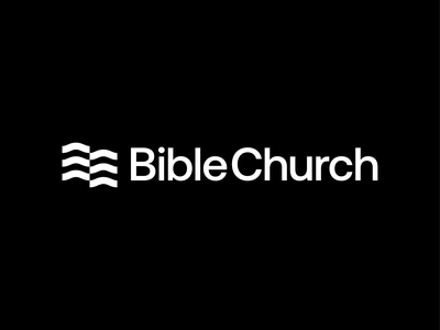 Bible Church geometric black and white brand identity logo design sea waves open book book pages modern minimal religion church bible christianity