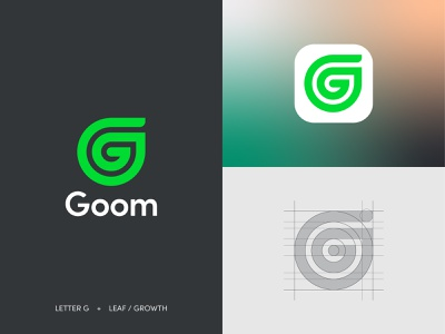 Goom Logo Design circles grid system geometry wellness happiness health app healthy evolve grow green leaf growth nature branding logo design