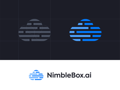 Nimblebox.Io Cloud Logo modern texhnology cloud logo blue grid code deep learning data scientists developers embedded code editor gpu ai cloud