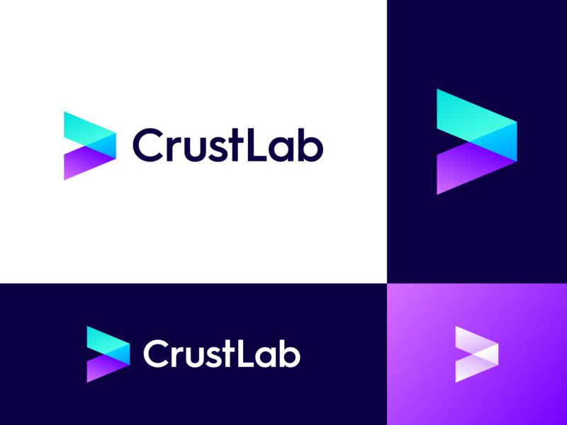 CrustLab Logo Design lab software-house it company mark colorful gradient futuristic tech modern innovative logo design arrow logo
