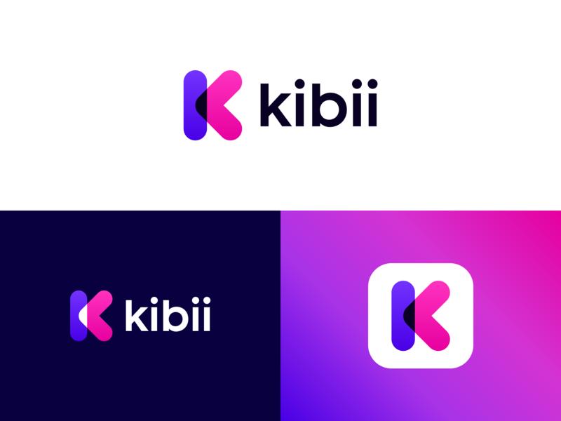 Kibii Logo Design colorful minimalist app logo buckets curated social planning app technology gradient futuristic modern letter logo monogram k logo letter k