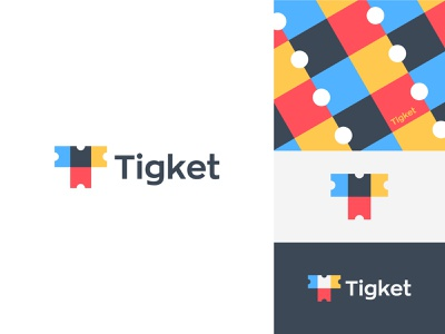 Tigket Logo (Letter T + Tickets) attraction tickets guided tour coupons airline and hotels logo logo design red blue yellow gray branding color palette pattern color overlay overlap monogram smart modern minimal colorful travel  vacation booking ticket tickets coupons letter t logo