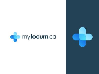 Logo design concept for MyLocum.ca app logo branding logo design logo medical care cross connection arrows on-demand medical professionals colorful modern technology medical cross medical app locum