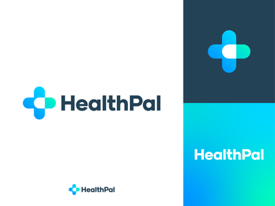 Healthpal Logo modern negative space minimal blue green gradient health healthpal logo design