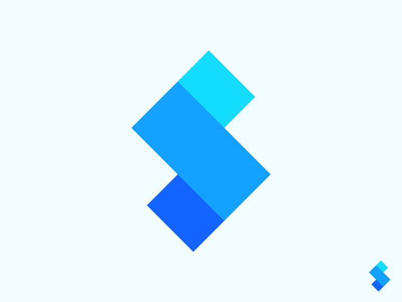 S Logo abstract mark icon modern technology geometry geometric blue gradient blue shades colors colorful logo color modern minimal minimalist logo letter s logo design