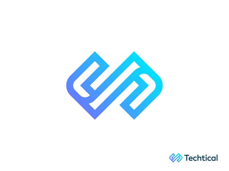 Techtical futuristic blue purple gradient colorful brackets coding web development front end back end consulting technology logo design logo designer symbol branding