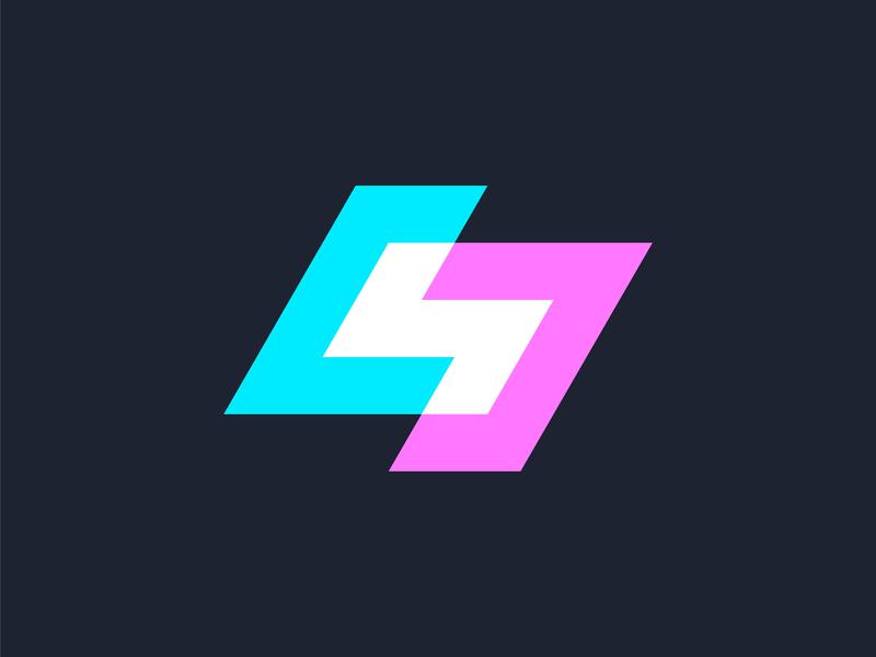 S Monogram Version 2 marketing energetic dynamic modern blue pink white gradient color overlay letter s monogram geometric minimalist minimal elegant logo design logo designer