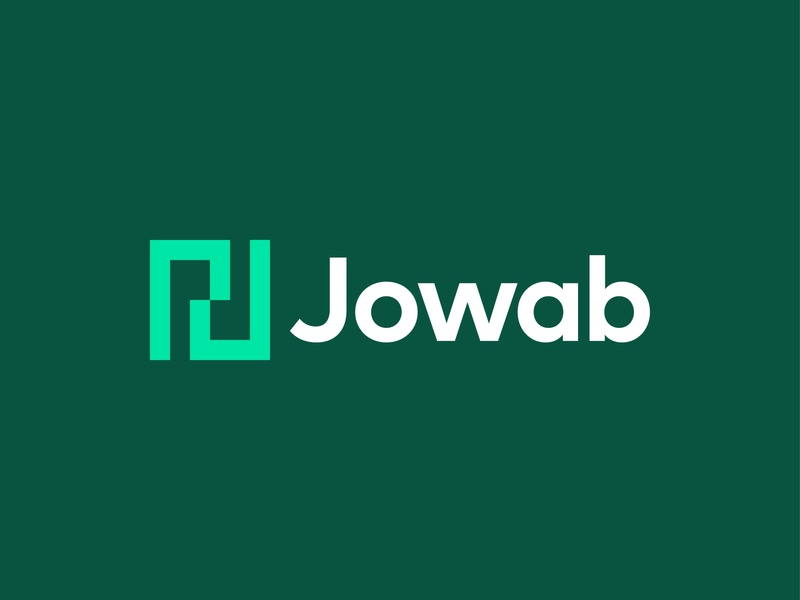 Jowab | Letter J Monogram green logo colorful mirror reflection double consumer services technology tech online futuristic modern minimalist people connection connect