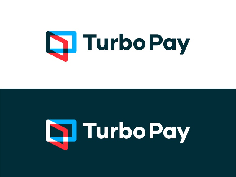 Turbo Pay | Wallet Logo Design Concept [Unused] technology app tech turbo fast pay payment smart dynamic connect connection futuristic minimalistic modern blue red color shape color overlay logo designer for hire logo design icon mobile wallet app