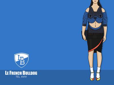 L.F.B Sweatshirt blue french model bulldog blue fashion