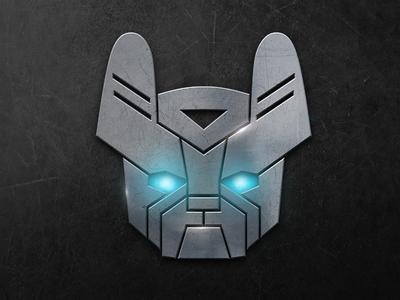 French Bulldog Transformers LOGO vector logo transformers illustration glow robot bulldog french character