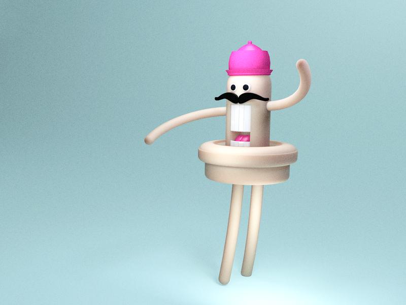 Ganjo 3d illustration funny character characterdesign cinema4d modeling