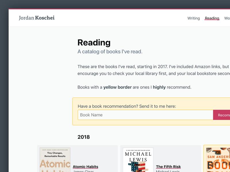 Reading Catalog + Recommendations by Jordan Koschei on Dribbble