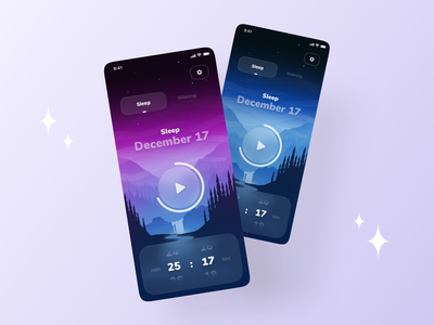 Meditate & Sleep Mobile App ✨🌙 sleeping mobile ux ui app bedtime relax sleep app night meditate sleep