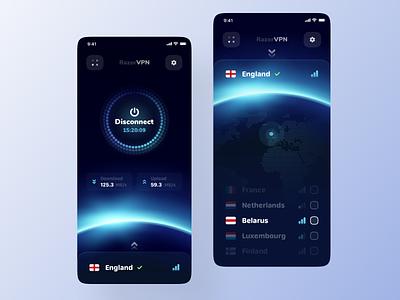 VPN Mobile App 🌍 mobile design ux ui uiux clean vpn mobile app proxy privacy connection vpn app