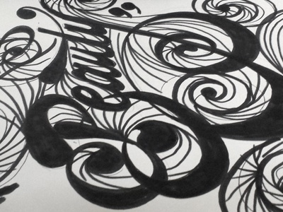 Circular Beauty (Rough calligraphy) calligraphy rough