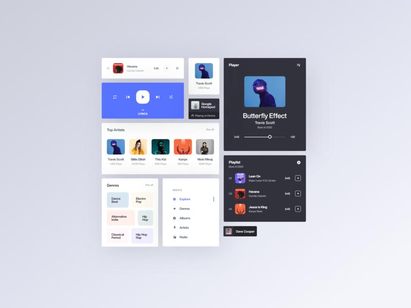 Design components - Music Player music genre album music player ios web app clean daily ui web minimal app design