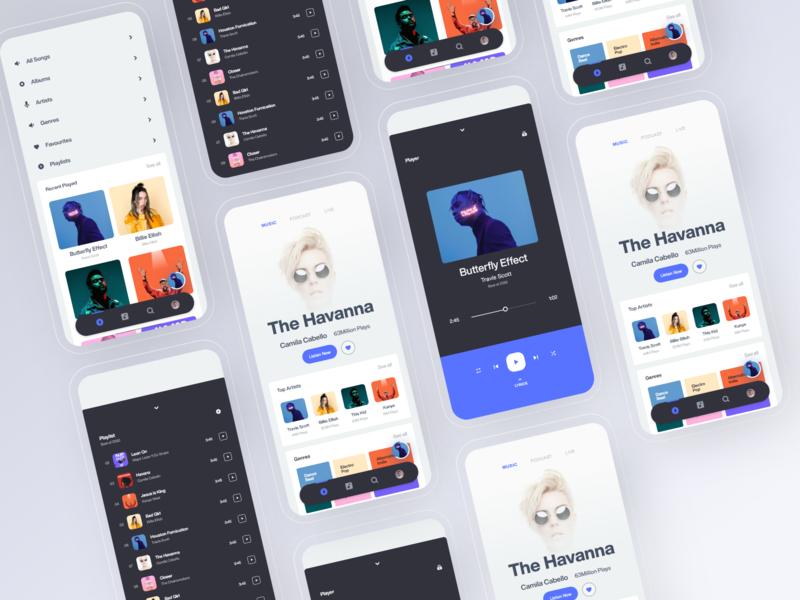 Music Player Web App - Resposive web app web ui playlist music player music ios minimal mobile app design daily ui clean app album