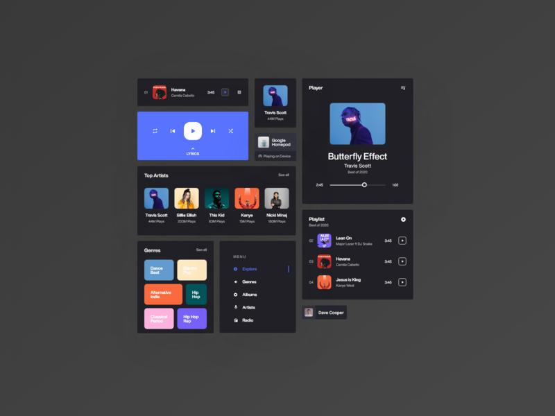 Dark Mode: Music Player web components desktop designs clean album playlist music player music web app dailyui daily ui web minimal app design