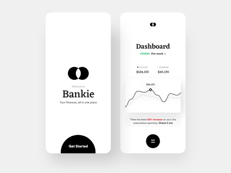 Bankie App business fintech cards dashboad wallet finance clean ui daily ui ios minimal app design