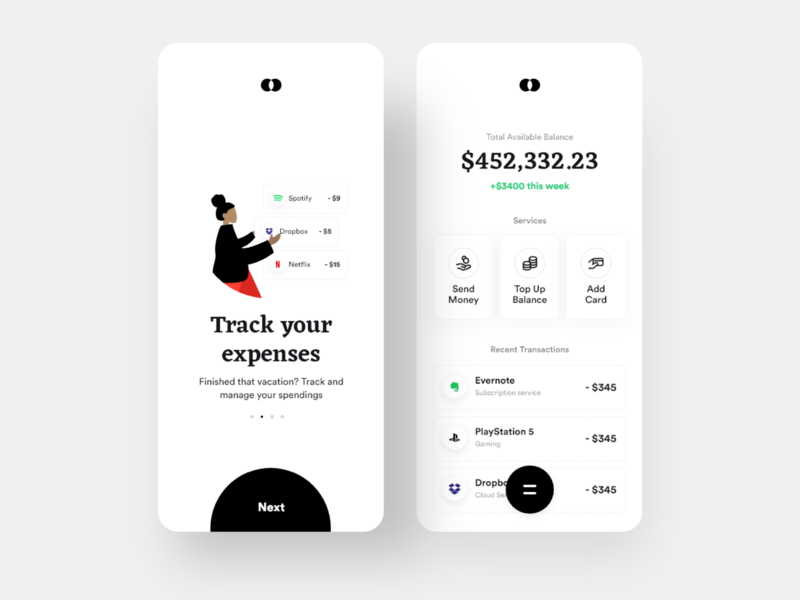 Bankie: Home screen expenses payment app payment wallet transfer transactions banking app bank clean ui daily ui ios minimal app design