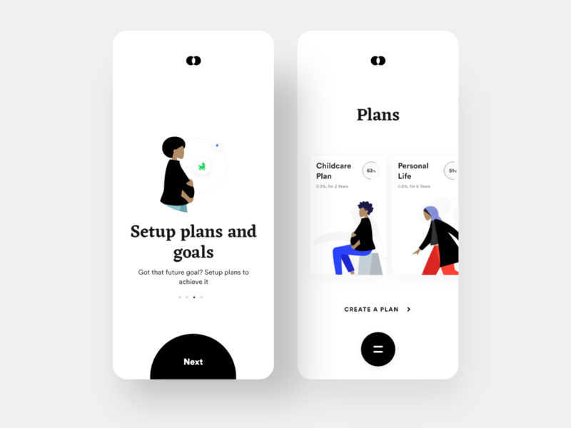 Bankie: Plans and Goals screen payment app payment transfer transactions wallet plans banking app bank dailyui daily ui clean ios minimal app design