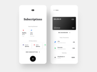 Bankie: Subscription and Card Transactions wallet transactions subscriptions payment app payment minimal ios design dailyui daily ui clean banking app bank app