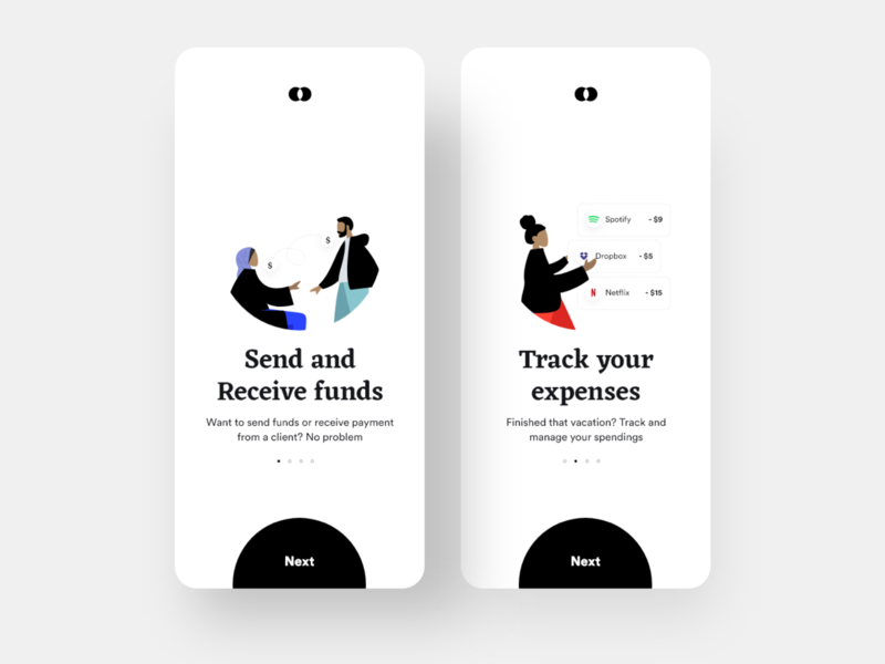 Bankie: Funds and Expenses Onboarding wallet transactions onboarding screen onboarding expenses payment app payment minimal ios design dailyui daily ui clean banking app bank app
