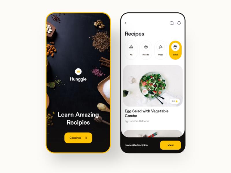 Hunggie: Recipes food delivery food order restaurant app recipe app recipe meal food app food dailyui ui clean daily ui ios minimal app design