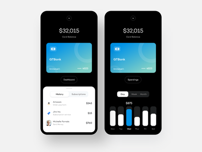 Card Application bank banking app bank app payment app payment transaction subscriptions card wallet dailyui ui clean daily ui ios minimal app design