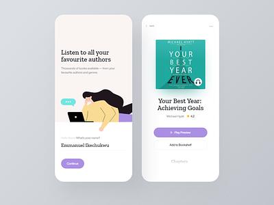 Audiobooks Mobile Application music app player audiobooks mobile app design mobile app reading app music book audio app audiobook podcast dailyui ui clean daily ui ios minimal app design