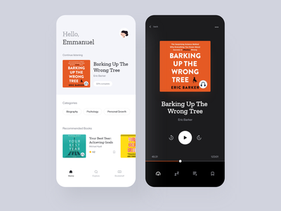 Audiobook Mobile Application — Homescreen & Audio Player reader music player reading app podcasts podcast audio player audiobooks audio app audiobook audio music app dailyui ui clean daily ui ios minimal app design