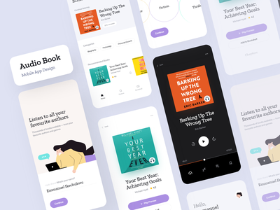 Audio Book App — Showcase audiobooks music app audio app audio player audiobook reader podcasts podcast music player reading app dailyui ui clean daily ui ios minimal app design
