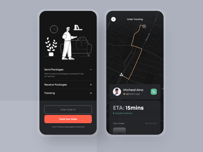 Order Tracking — Dispatch Mobile Application ride sharing delivery service tracker app location app map delivery status delivery app tracking app order rider dailyui ui clean daily ui ios minimal app design