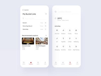 Tourist App — Bucket List & Search vacation travel bucket list location app route guide ios minimal app design travel app trip planner trip tourist interests