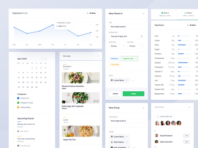 Meal Planner — Design Components cards design component library components cards dashboard recipe app calendar app tasks diet app date picker calendar meal planner meal web app web clean daily ui minimal app design