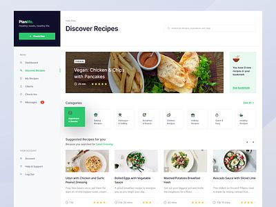 Meal Planner — Discover Recipes design app minimal daily ui clean web web app meal meal planner calendar date picker diet app tasks calendar app recipe app dashboard