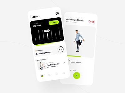 Workout Application health caoch calendar cards stats dashboard activity userinterface gym training piqodesign piqo ui nike workout fitness minimal clean design app