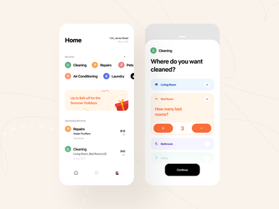 Home Services Mobile App mobile ui mobile design app design mobile app design mobile service app mobile app booking delivery app cleaning app services home service ui ios clean daily ui design cleaning service