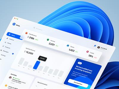 Invo — Invoicing Web Application glassmorphism ui microsoft windows fluent design activity clean minimal design app design fintech finance app payment app web invoice clients dashboard