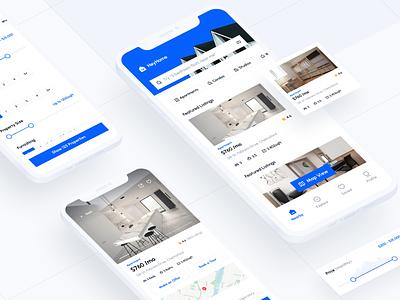 HeyHome — Real Estate Mobile App booking rent app rent uiux house home real estate app property mobile app ui rental app apartment app search filter real estate clean app minimal design housing