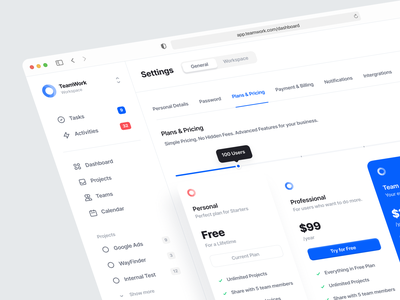 TeamWork — Dashboard Pricing Page uiux interface app minimal subscription pricing table payment saas pricing plan pricing calendar clean task management task app dashboard web app task ux ui design