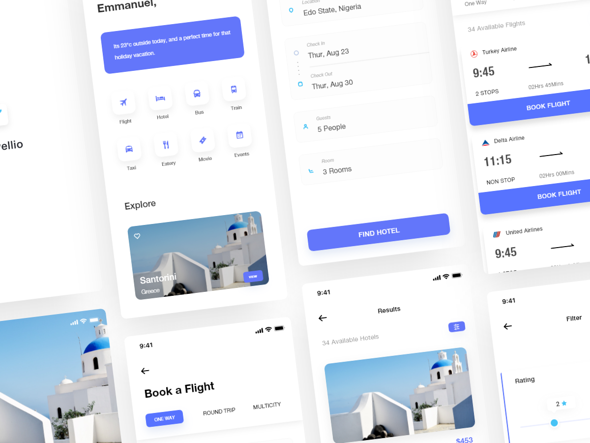 Travellio UI kit search airline travel app travel reservation hotel booking hotel flight search flight booking flight ios app daily ui design